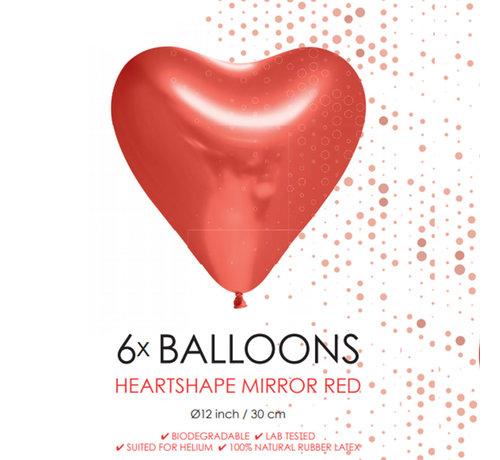 6 Chrome harten ballonnen rood