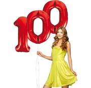 Rode cijfer ballonnen 100
