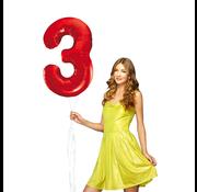 Rode cijfer ballon 3
