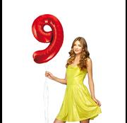 Rode cijfer ballon 9