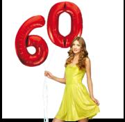 Rode cijfer ballon 60