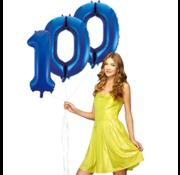 Blauwe cijfer ballon 100