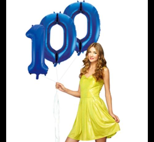 Blauwe cijfer ballon 100 inclusief helium gevuld