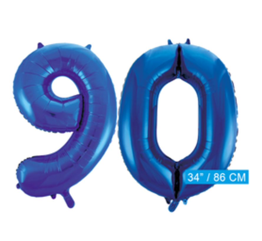 Blauwe cijfer ballon 90 inclusief helium gevuld