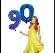 Blauwe cijfer ballon 90