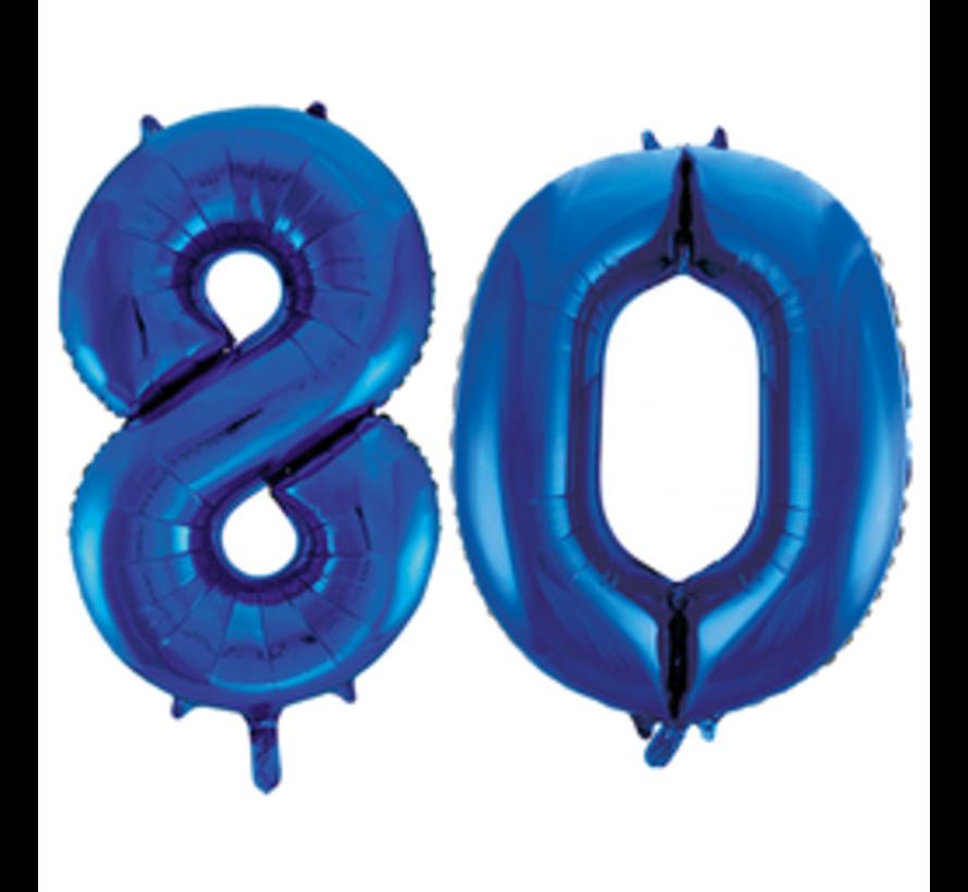 Blauwe cijfer ballon 80 inclusief helium gevuld