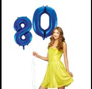Blauwe cijfer ballon 80