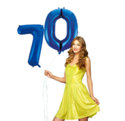 Blauwe cijfer ballon 70
