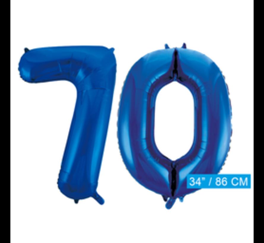 Blauwe cijfer ballon 70 inclusief helium gevuld