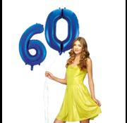 Blauwe cijfer ballon 60