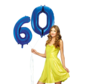 Blauwe cijfer ballon 60 inclusief helium gevuld
