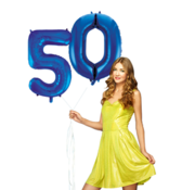 Blauwe cijfer ballon 50