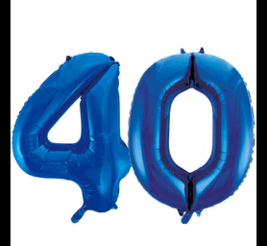 Blauwe cijfer ballon 40 inclusief helium gevuld
