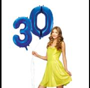 Blauwe cijfer ballon 30