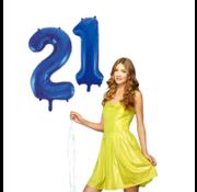 Blauwe cijfer ballon 21