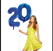 Blauwe cijfer ballon 20