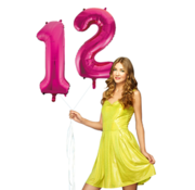 Pink cijfer ballon 12