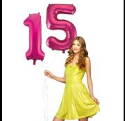Pink cijfer ballon 15