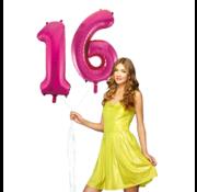 Pink cijfer ballon 16