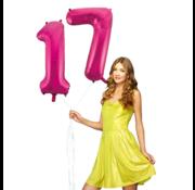 Pink cijfer ballon 17