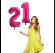 Pink cijfer ballon 21