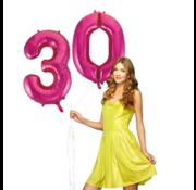Pink cijfer ballon 30