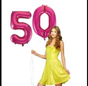 Pink cijfer ballon 50