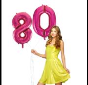 Pink cijfer ballon 80