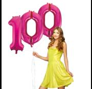 Pink cijfer ballon 100
