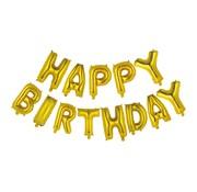 Letter ballon 'Happy Birthday' Goudkleurig