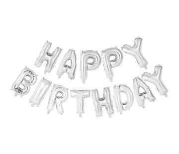 Letter ballon 'Happy Birthday' Zilverkleurig