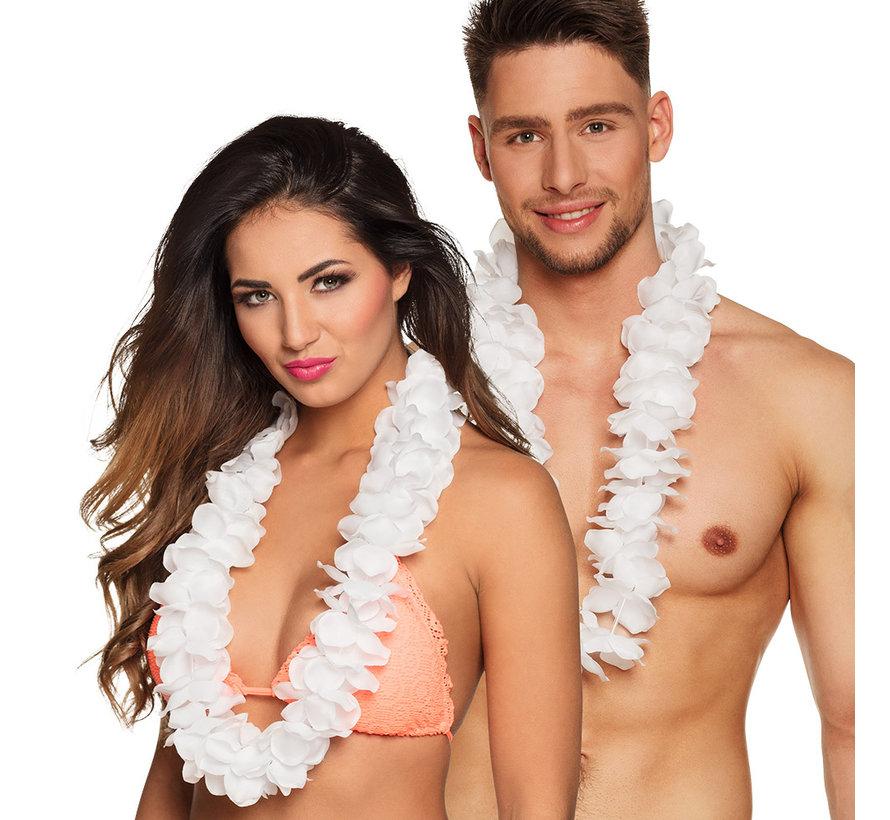 Luxe Hawaii bloemenkrans Wit