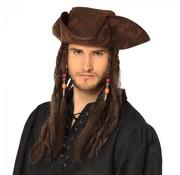 Piraten hoed met pruik