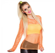 Neon visnet shirt oranje