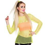 Neon visnet shirt geel