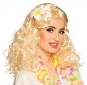 Pruik blond met bloem