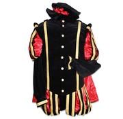 Piet fluweel rood /zwart met cape