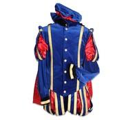 Piet fluweel blauw /zwart met cape