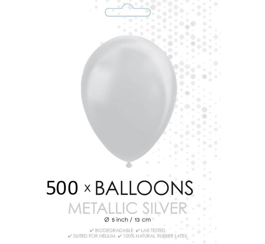 500x Mini ballonnen metallic zilver 5 inch(13cm)
