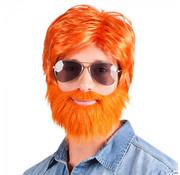Pruik oranje met baard