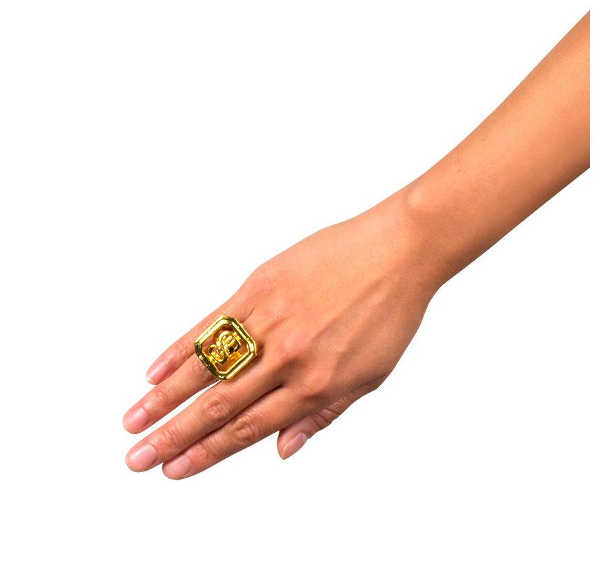 Goedkope goudkleurige dollar ring