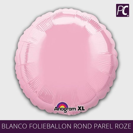 Blanco folieballon rond parel roze