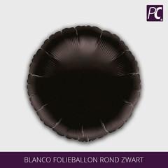 Blanco folieballon rond zwart