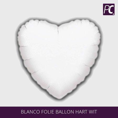 Blanco folie ballon hart wit