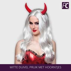 Witte duivel pruik met hoorntjes