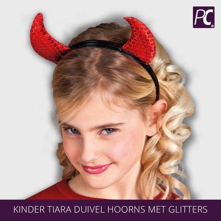 Kinder Tiara duivel hoorns met glitters