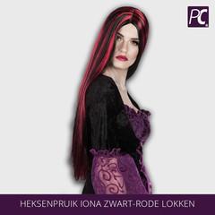 Heksenpruik Iona zwart-rode lokken