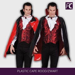 Plastic cape rood/zwart