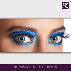Nepwimpers metallic blauw