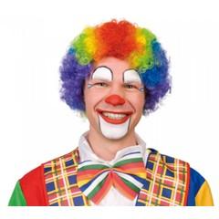 Pruik Clown Krul veelkleurig
